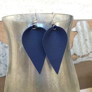 Vegan leather leaf earrings